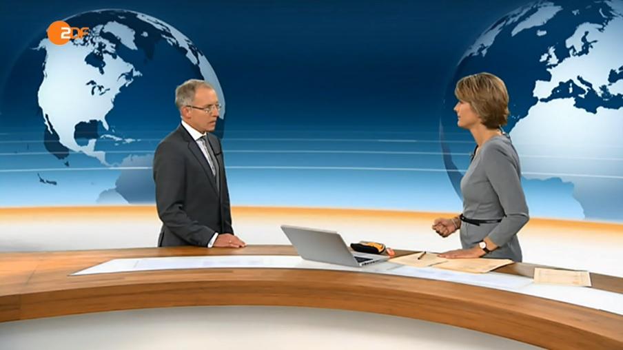 Prof. Dr. Karl-Rudolf Korte und Moderatorin Marietta Slomka. (c) ZDF