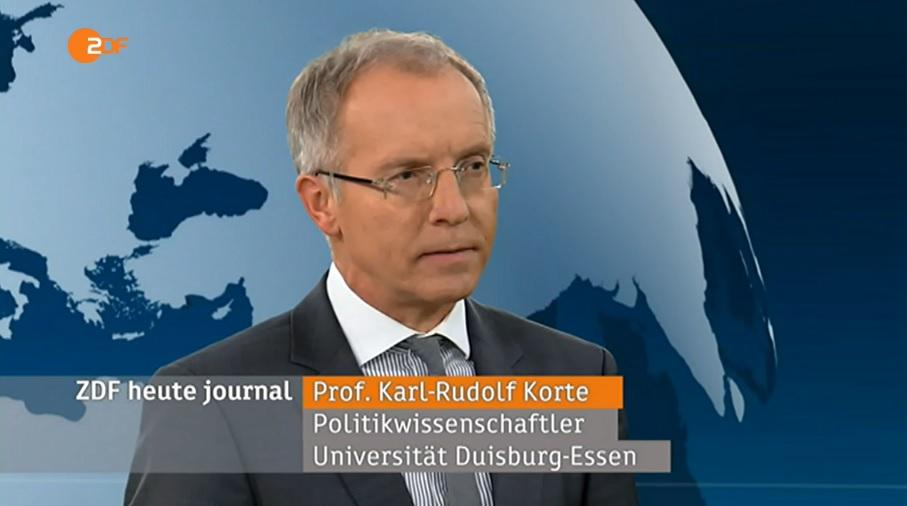 """Einschätzung für das """"heute journal"""": Prof. Dr. Karl-Rudolf Korte. (c) ZDF"""