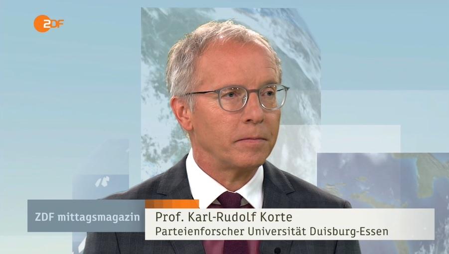 Prof. Dr. Karl-Rudolf Korte zu Gast im ZDF-Mittagsmagazin (c)ZDF