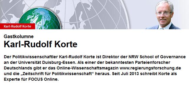 Gastkommentar von Prof. Dr. Karl-Rudolf Korte im Nachrichtenmagazin FOCUS (c)Focus