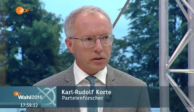 Im Interview zur Wahl in Mecklenburg-Vorpommern: Prof. Dr. Karl-Rudolf Korte (c)ZDF