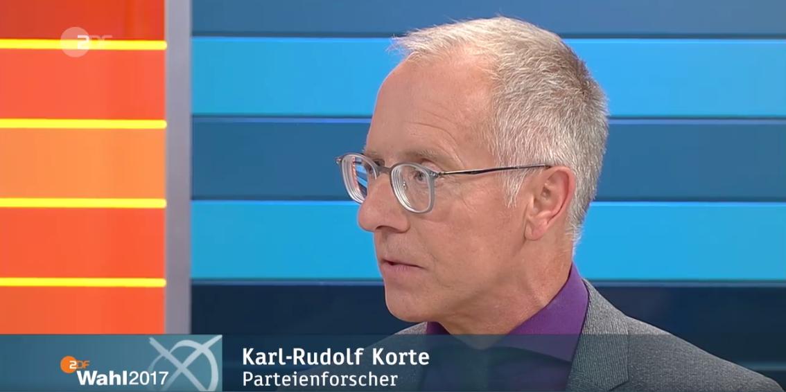 Karl-Rudolf Korte zu Gast im 'ZDF-Wahlspezial'. (c) ZDF