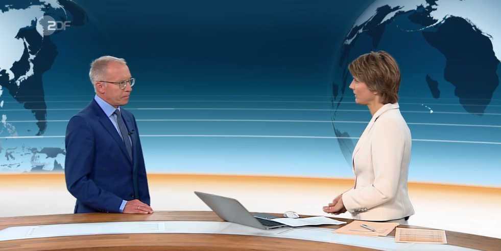 Karl-Rudolf Korte zu Gast im ZDF 'heute-journal' (c) ZDF.